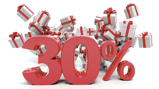 30% 3D numbers with bunch of gift boxes,isolated on white background.